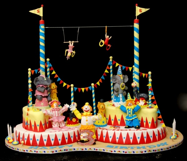 love this cake for the twins circus bday. K n L Bday cake