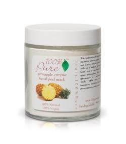 100% Pure Pineapple Enzyme Mask.  Brighten up with 100% Pure Pineapple enzyme Mask. It is a skin brightening facial peel, concentrated with Pineapple enzyme, Papaya enzyme, Vitamin C, and Citrus, which effectively peels surface dead skin cells for a brighter, more glowing complexion. This facial peel is concentrated with potent anti-aging antioxidants which help restore the appearance of previously damaged skin.