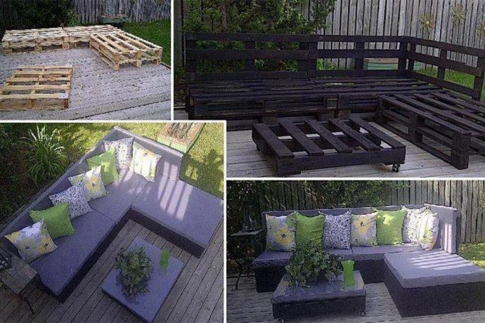 """Looks pretty easy. Just stack two pallets on top of each other. With 6 pallets you have the seats. Then 3 more for the backs of the seats and one for the """"coffee table"""" on wheels. Cover bottoms with plywood and then seat cushions. LOVE this idea!!"""