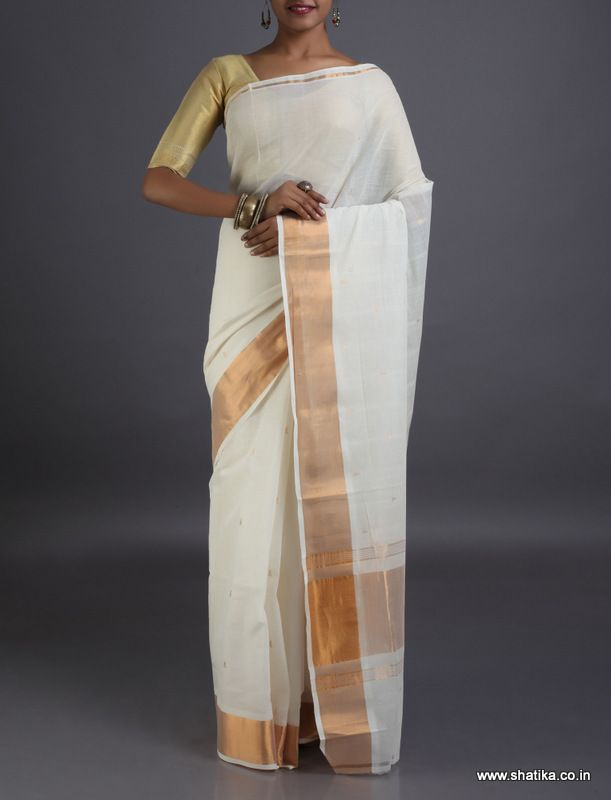 Damini Pristine Plain White with Gold Border #VenkatgiriCottonSaree