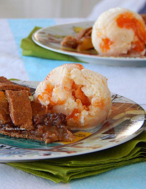 Vanilla Ice Cream with Apricot Jam http://pepiskitcheninenglish.blogspot.gr/2015/08/vanilla-ice-cream-with-apricot-jam.html