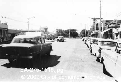 82 ave @108st. 1958. Image Courtesy of Vintage Edmonton https://www.facebook.com/TheVintageEdmonton