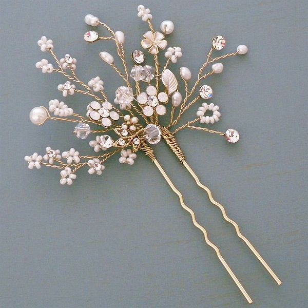 Shimmering Blossom Hairpin. A delicate burst of tiny flowers and sprigs designed by Twigs & Honey. See more here: https://perfectdetails.com/706-hairpin.htm