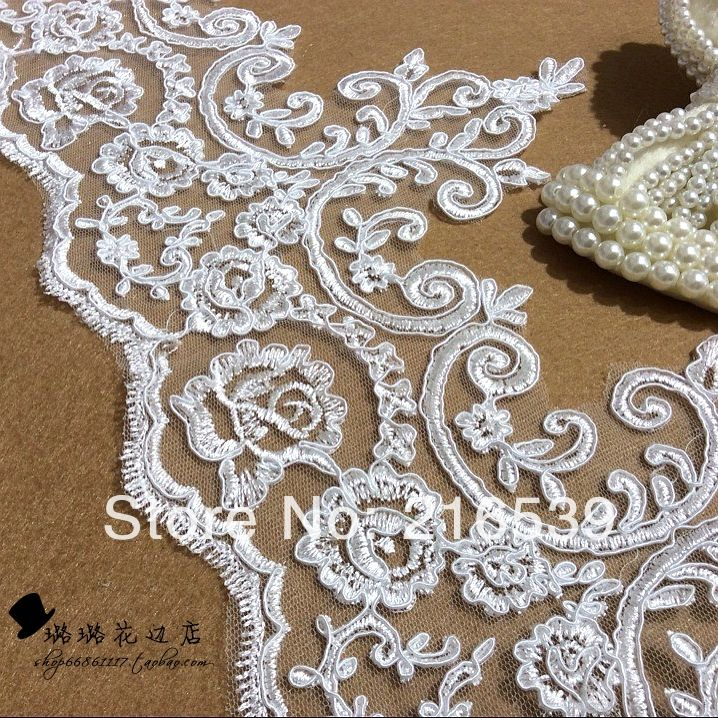 Wedding dress lace fabric milky white and silver embroidered flower veil quality lace accessories 21cm