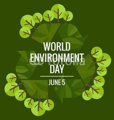 World environment day concept with tree background. Vector illus