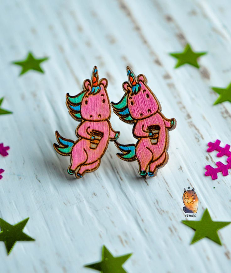 "Wooden Earrings ""Pink Unicorn"", Pink Earrings, Cute Wooden Earrings, Hand Painted by WaterFallWorkshop on Etsy"
