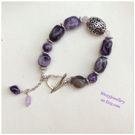 Amethyst Bracelet Amethyst Genuine Gemstone by WestyJewellery