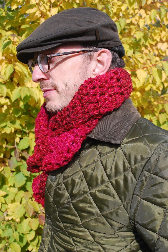 Raspberry chunky scarf warm winter crochet scarf vegan gift