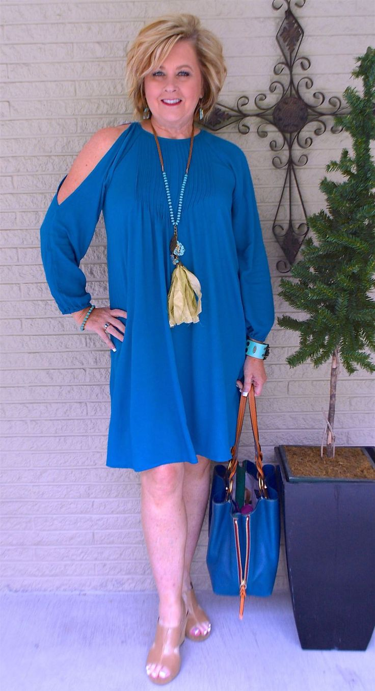 50 IS NOT OLD | A COLD SHOULDER DRESS | Spring outfit | Teal | Date Night | Office | Work Appropriate | Fashion over 40 for the everyday woman