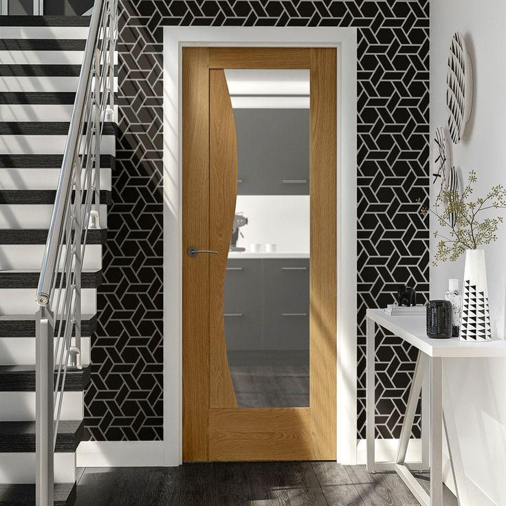 This Emilia Oak Flush Door with Stepped Design and Clear Safe Glass is supplied unfinished. #emiliaoakdoor #glazeddesignerdoor #internalglazeddoor