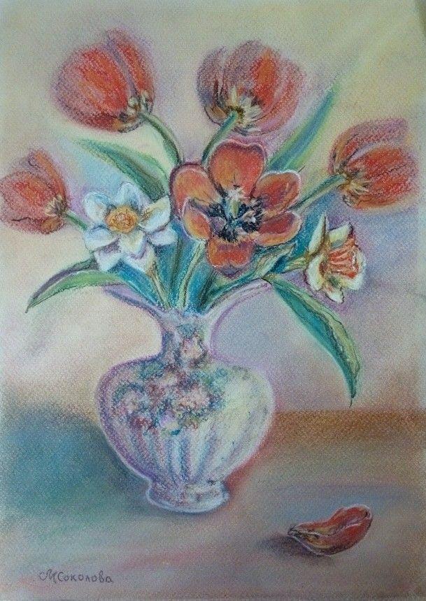 Весенний букет, пастель