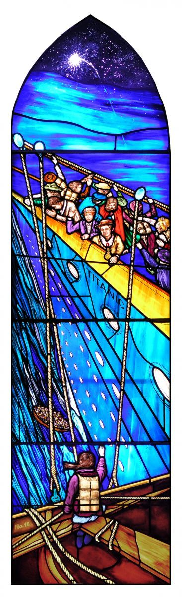 Boat 16 being lowered with Annie Kate Kelly looking up at some of the Addergoole Fourteen: Courtesy Michael Coleman Whitethorn Studios - St Patrick's Church in Lahardane Village, Ballina, Co Mayo, Ireland gets two new windows with the themes Titanic Rescue and Emigration....