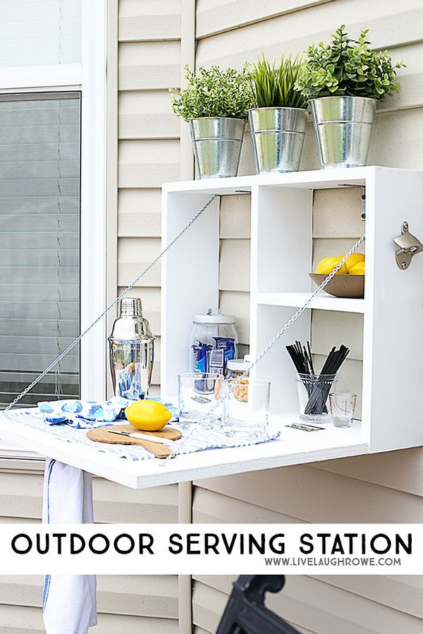 How neat is this DIY Outdoor Beverage Shelf? I would LOVE to put one of these in our new backyard!