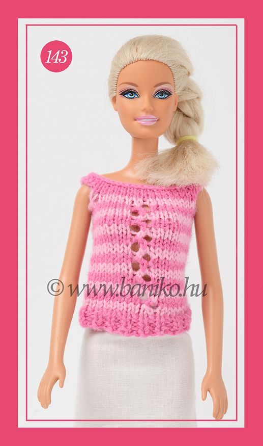 Pink-rózsaszín csíkos, kötött Barbie felső