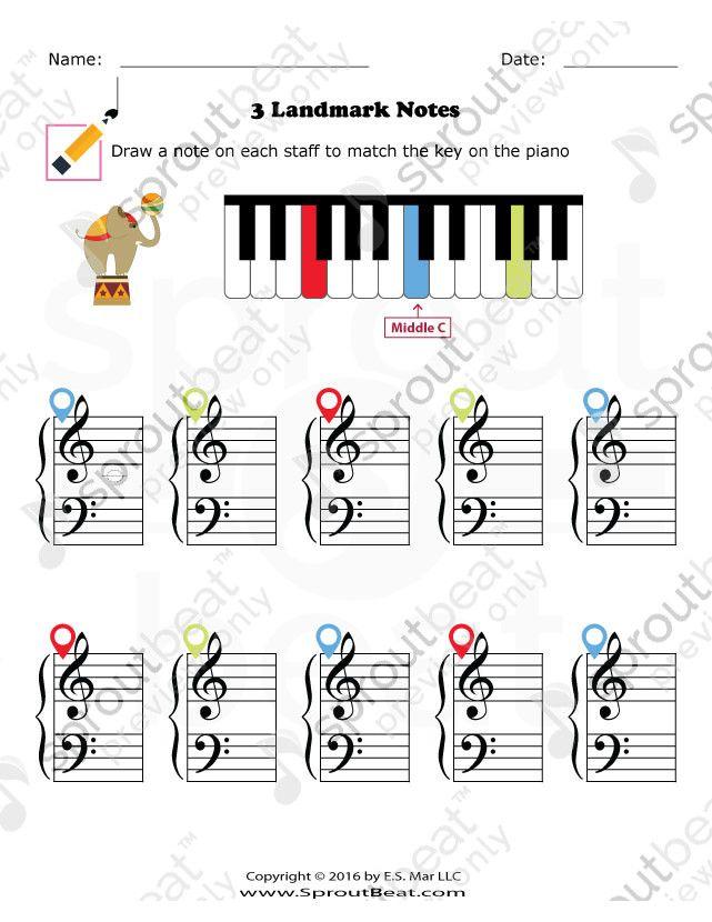 Music Worksheet Categories Note Reading Piano Lessons For Beginners Music Worksheets Landmark Piano worksheets for beginners