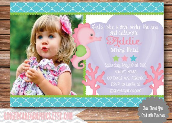 Under the Sea Birthday Invitation - Invite - Pink - Turquoise - Seahorse - Coral - Printable - Digital