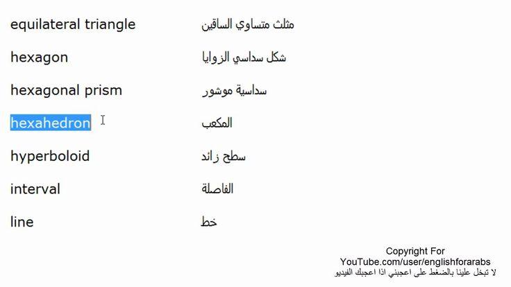 اسماء الاشكال الهندسية باللغة الانجليزية الجزء 2 Youtube Math Math Equations Hexagon