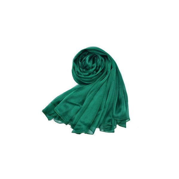 LYZA  Solid Silk Scarf Shawl 200*140CM Oversize Design Scarves Wraps... (490 EGP) ❤ liked on Polyvore featuring accessories, scarves, green, green scarves, summer shawl, patterned scarves, oversized shawl and summer scarves