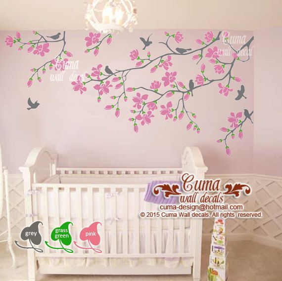 Pink Cherry Blossom Wall Decals Nursery White Flowers Vinyl Wall Decal Tree  Birds Wall Sticker Kids Nursery Wall Mural  Z303 By Cuma