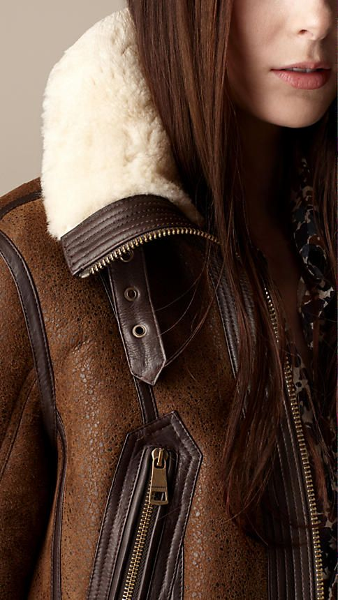 Oversize Collar Shearling Jacket   Burberry