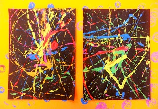 "Action Jackson and ""action paintings"" in paper box lids. NEON PAINT!"