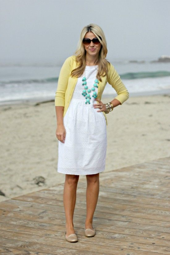 White eyelet dress, yellow cardigan, turquoise bauble...adorable classic look