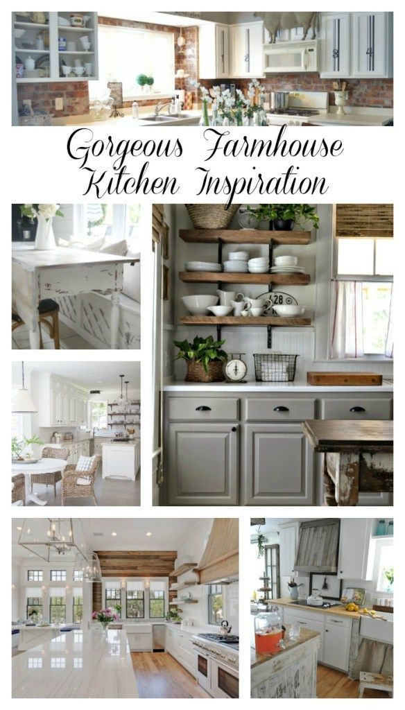 Gorgeous Farmhouse Kitchen Inspiration. If you love farmhouse kitchens, this is the post for you. 10 gorgeous farmhouse kitchens that are sure to inspire!