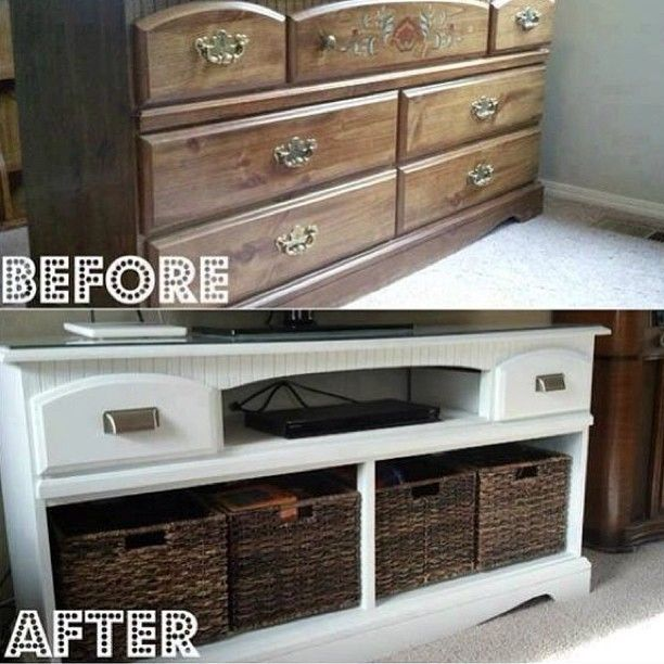 Repurposed dresser made into an entertainment center. So much better! Well done.