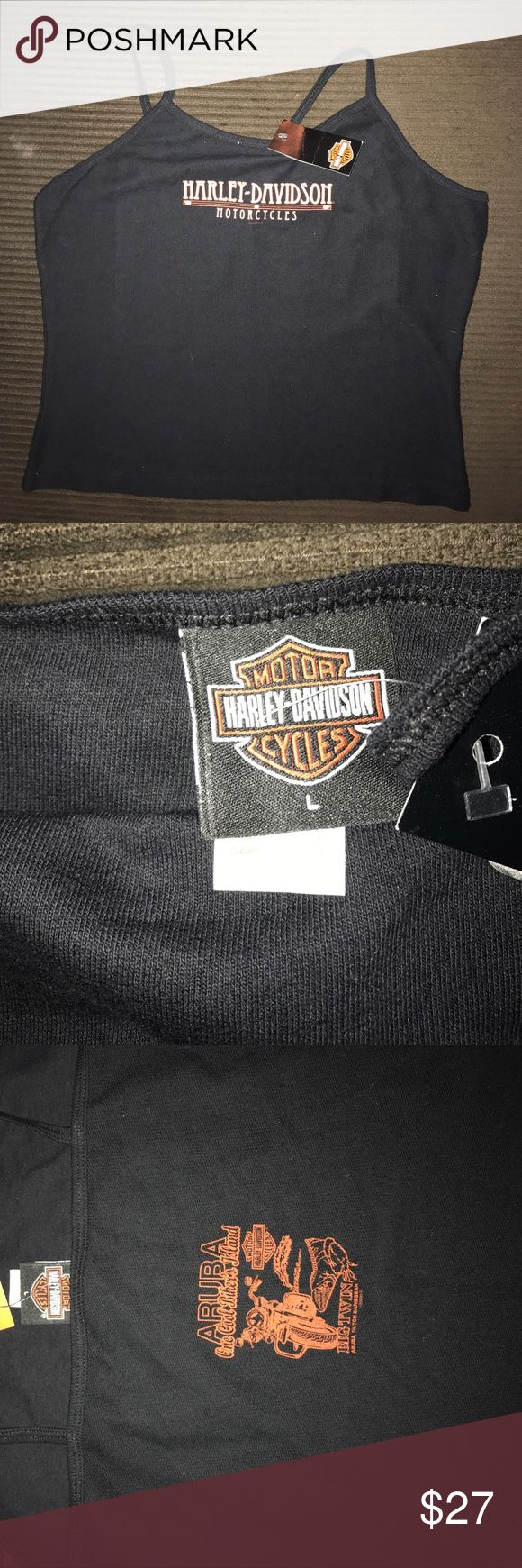 NWT-----H-D  crop tank top from Aruba NWT---- black H-D CROP TANK WITH ORANGE WRITING ON THE FRONT AND THE DEALER LOGO ON BACK Harley-Davidson Tops Tank Tops