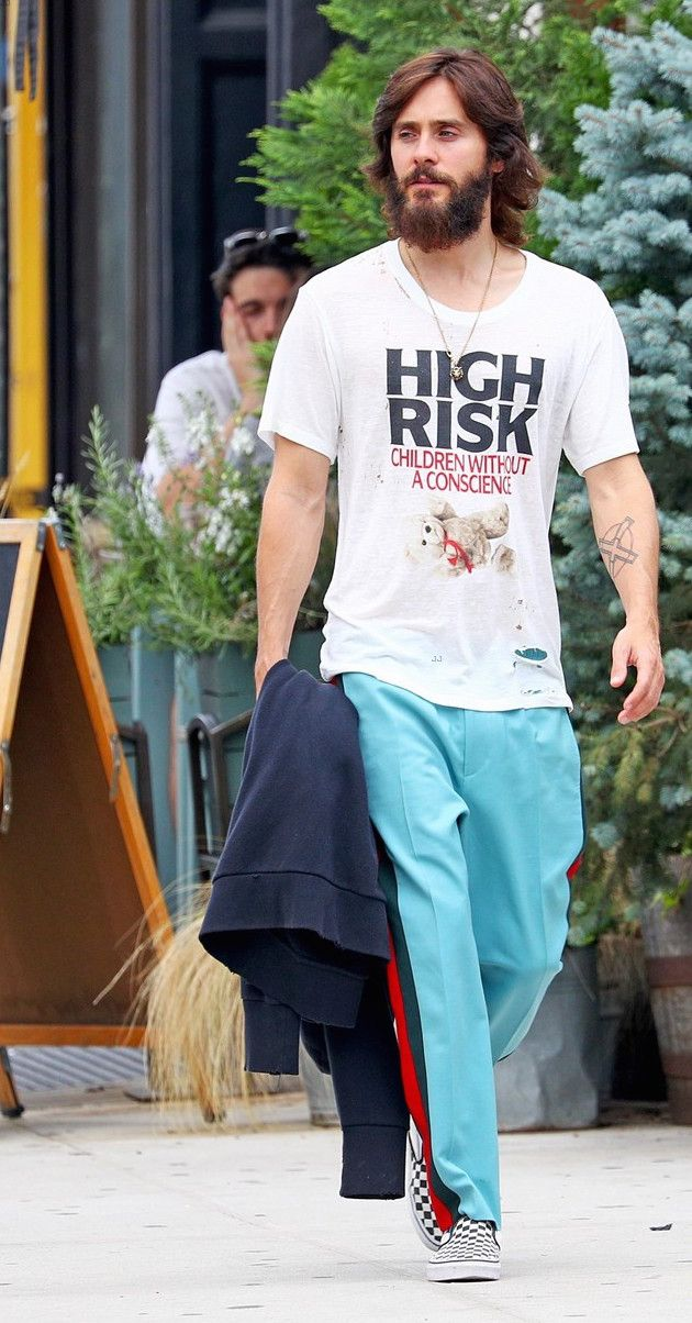 Jared Leto Strolls the Streets of NYC in Enfants Riches Déprimés T-Shirt, Gucci Pants and Vans Sneakers | UpscaleHype