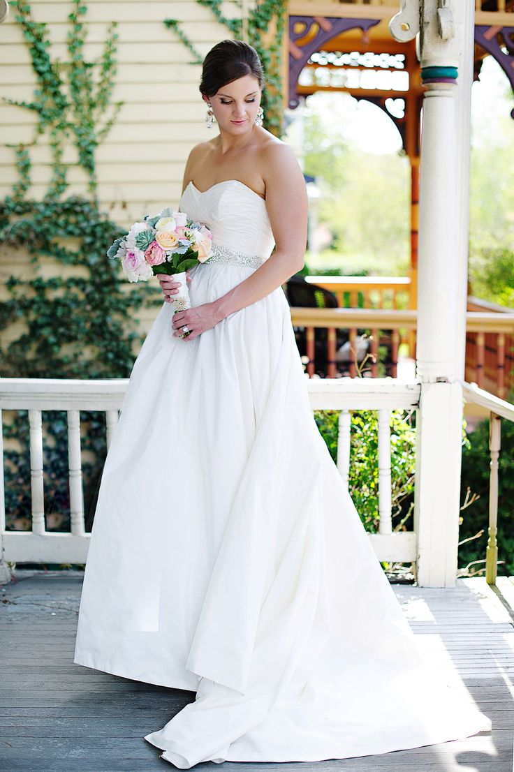 """Love our sweet and beautiful bride Kara in her Lillen Collection """"Garcia"""" gown and custom Haute Bride accessories! ♥"""