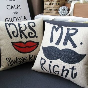 Made from Linen (cover's only) Dimensions 45cm x 45 cm Linen Cotton  http://www.homedecornz.com/#!product/prd1/1743691225/mr-and-mrs-right-cushions-cover-set