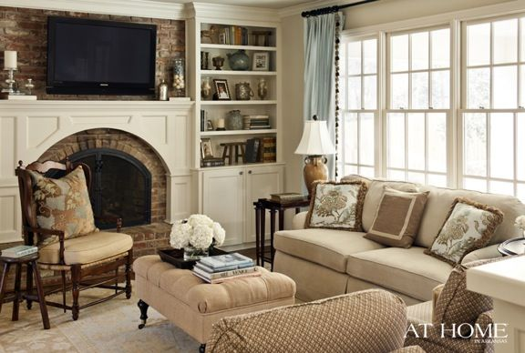 tv over LR fireplaceAt Home, Decor Ideas, Living Rooms, Livingroom, Dennings Families Room, Leap Of Faith, Fireplaces Ideas, Arkansas, Fireplaces Bricks