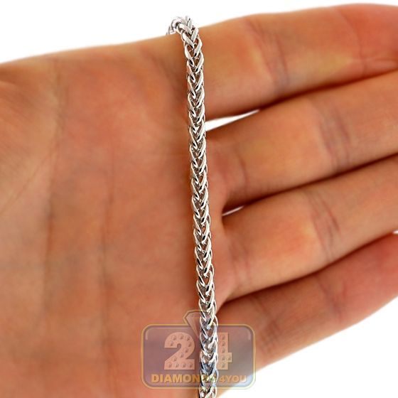 16bfff8c69d2 Mens Wheat Spiga Link Design Chain Necklace 3.5 mm Width Solid Italian 14K  White Gold