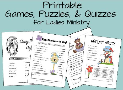 Women's Ministry: Games and Puzzle Printables lots of ideas on this website