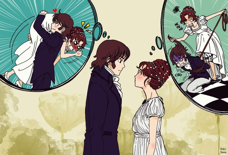 """Pride and Prejudice, by dokinana on deviantART. >> Lizzie and Mr. Darcy, from """"Pride and Prejudice"""" - anime style! I really, really like this one... the """"thinking bubble"""" for each character is so very accurate regarding their first impressions of each other. :)"""
