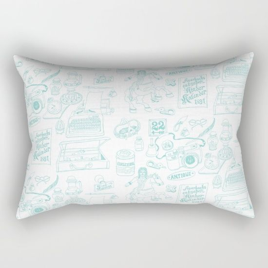 Retangular Pillow,  Antique Pattern in Pen and Ink Drawing.