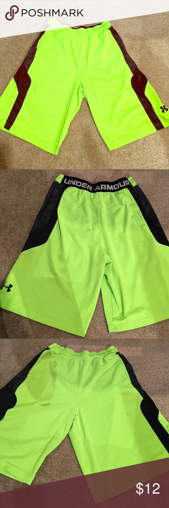 Men's Large Neon Green Under Armour BBall Shorts! Under Armour Men's Large BBall shorts. Neon Green with black writing. Wicked comfy and soft. Small stain and hole on left leg, can be seen in last pic. Under Armour Shorts Athletic