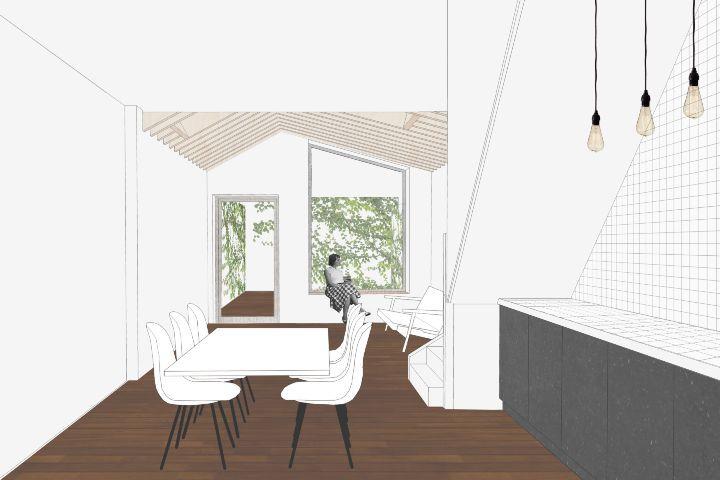 Verbouwing en uitbreiding van een rijwoning / extension and renovation of a small city house - interieur - multiplex - zichtbare balken