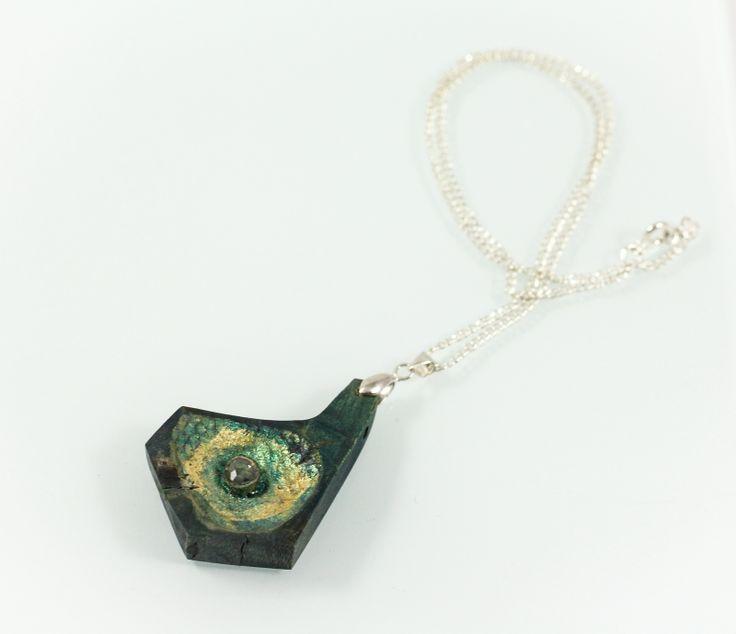 Grass light pendant, horn wood/diamond/silver, aprox 4cm. www.leontinpaun.ro Buy online - www.fine-art.ro