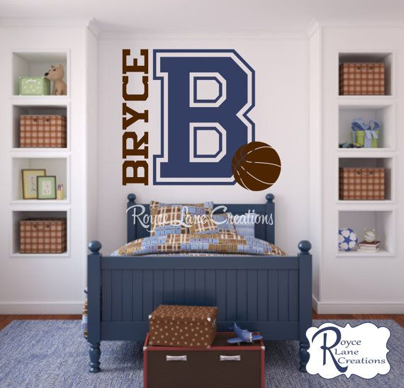 Varsity Letter Decal with Personalized Name and Basketball for Teen Boys Bedroom Sports Wall Decal Basketball Wall Decal on Etsy, $28.00