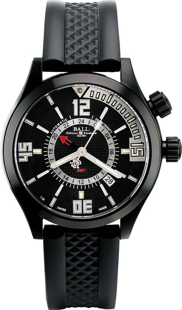 Ball Watch Company Diver GMT #bezel-fixed #bracelet-strap-rubber #brand-ball-watch-company #case-depth-14-3mm #case-material-black-pvd #case-width-42mm #clasp-type-deployment #date-yes #delivery-timescale-1-2-weeks #dial-colour-black #gender-mens #gmt-yes #luxury #movement-automatic
