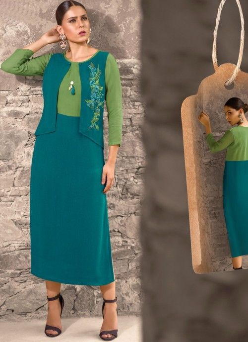 Pretty green and blue partywear long kurti online for women which is  crafted from faux georgette fabric with extreme exclusive hand work. 61303976b