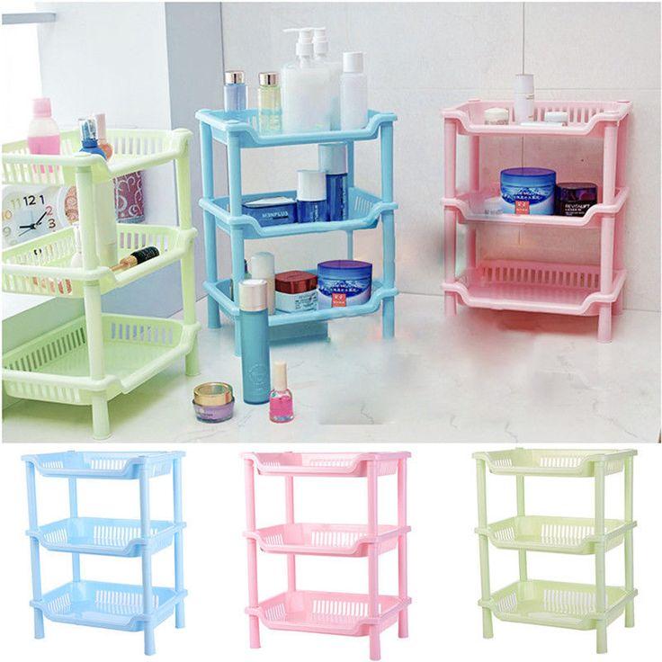 Square 3Tier Plastic Corner Shelf Organizer Bathroom Kitchen Storage Rack Holder   eBay