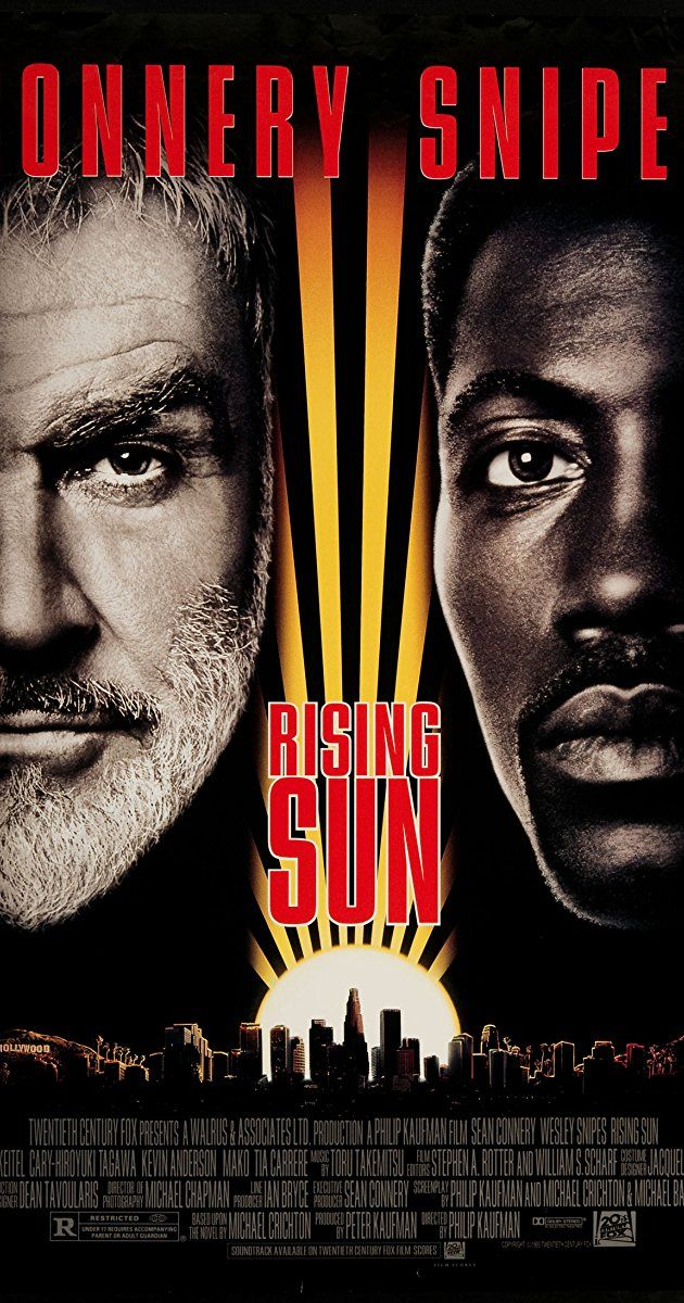 1993 Directed by Philip Kaufman. With Sean Connery, Wesley Snipes, Harvey Keitel, Cary-Hiroyuki Tagawa. When an escort girl is found dead in the offices of a Japanese company in Los Angeles, detectives Web Smith and John Connor act as liaison between the company's executives and the investigating cop Tom Graham.