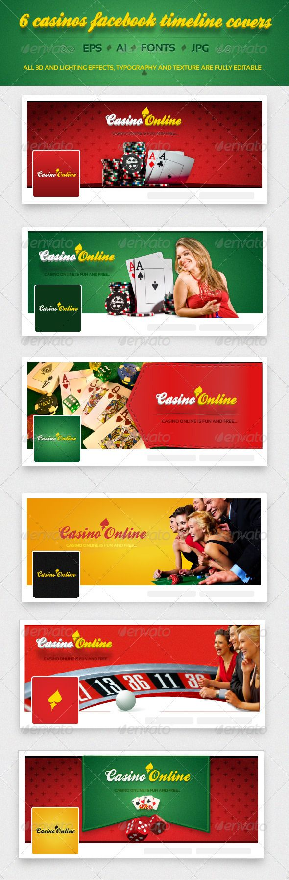 The pack includes 6 attractive casino Facebook Timeline Covers and 6 Facebook Profile Images. • Lighting effects, texture and typography is editable.