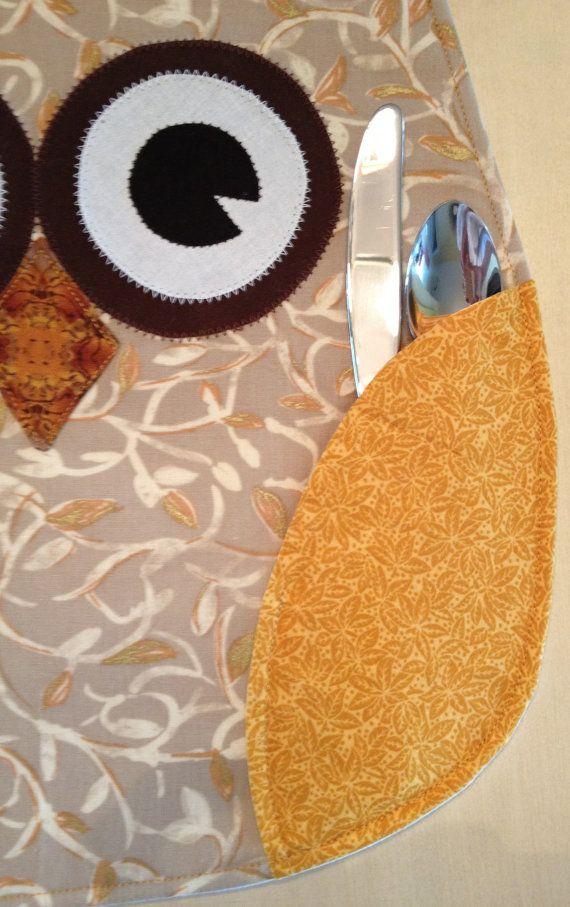 GOLDEN OWL PLACEMATS by QuiltMix on Etsy