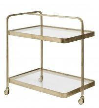 TROLLEY, brass, glass, 3 wheels | Nordal.eu
