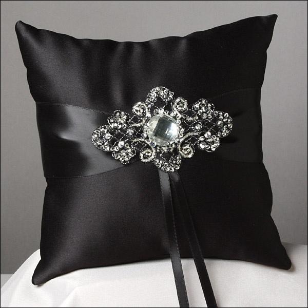 Ring Bearer Pillow - elegant & dramatic in black satin & crystal.