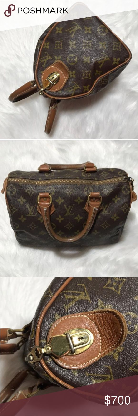 RARE LV French Company Speedy Highly collectible and valuable as they are very hard to find in this condition. Speedy 25 from Louis Vuitton during the French Company days! Own a piece of history. The zipper clicks into the lock at the end of the bag. Any Louis Vuitton addict needs a piece like this in their collection! Louis Vuitton Bags Satchels